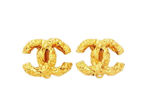 Vintage Chanel logo earrings CC double C jewelry Authentic