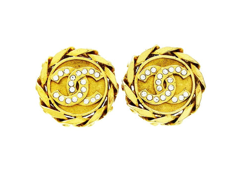 Vintage Chanel logo earring CC rhinestone round jewelry Authentic
