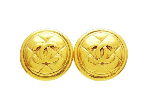 Vintage Chanel logo earring CC double C quilted round Authentic