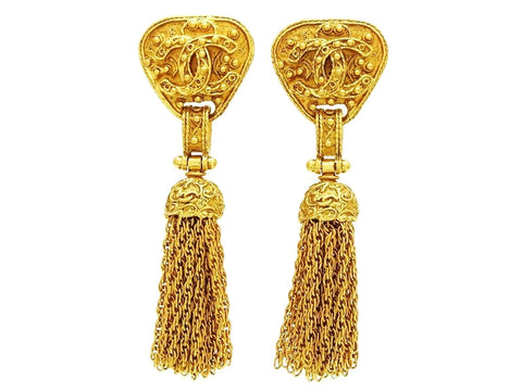 Vintage Chanel tassel earrings CC logo fringe dangle Authentic
