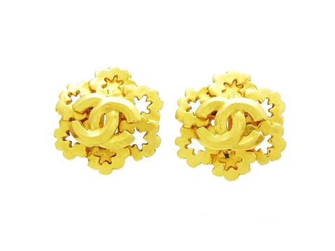 Vintage Chanel earrings gold CC jewelry Authentic