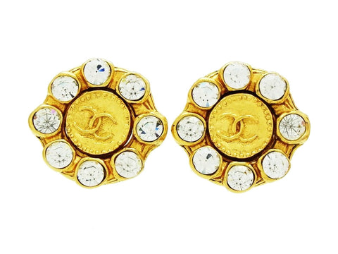 Vintage Chanel rhinestone earrings CC logo round Authentic