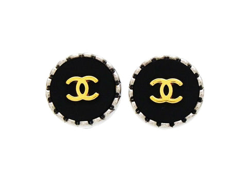 Vintage Chanel round earrings CC logo black silver Authentic