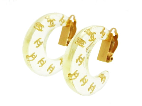 Vintage Chanel clear earrings new crescent CC logo Authentic