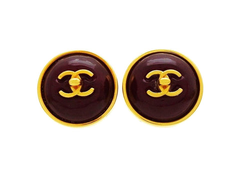 Vintage Chanel red earrings turnlock CC logo glass stone Authentic