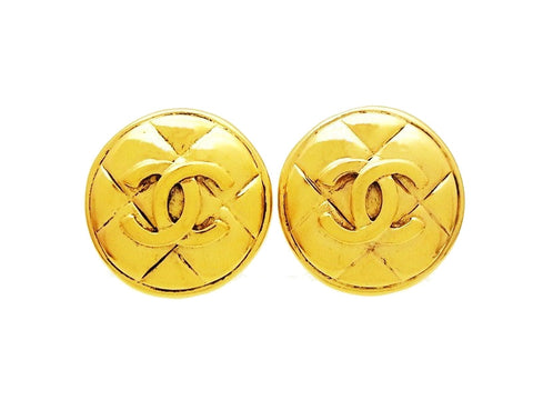 Vintage Chanel round earrings CC logo quilted Authentic