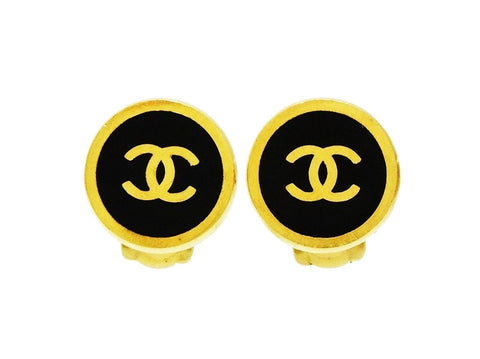 Vintage Chanel small earrings CC logo black round Authentic