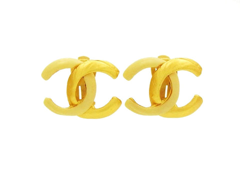 Vintage Chanel double C earrings white gold CC logo Authentic