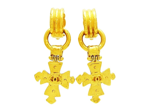 Vintage Chanel cross earrings CC logo dangling cross Authentic