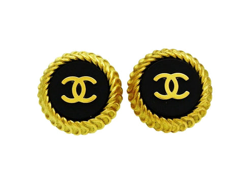 Vintage Chanel button earrings CC logo black round Authentic