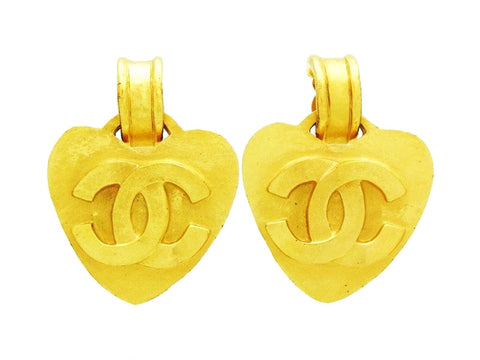 Vintage Chanel heart earrings CC logo dangle Authentic