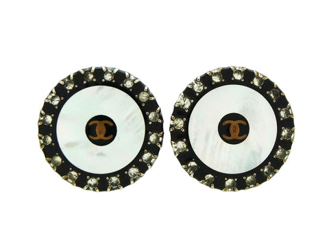 Vintage Chanel rhinestone earrings CC logo white black Authentic