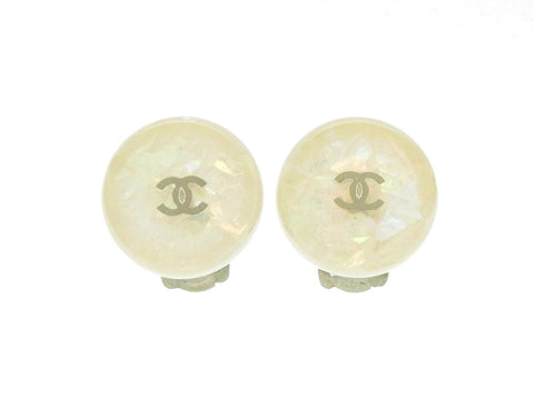 Vintage Chanel round earrings silver CC logo white plastic  Authentic