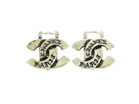 Vintage Chanel CC earrings silver small logo double C Authentic