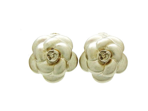 Vintage Chanel camellia earrings silver flower Authentic