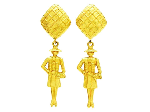 Vintage Chanel COCO earrings dangling doll Authentic