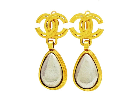Authentic vintage Chanel earrings gold CC silver drop dangle classic