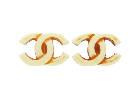 Vintage Chanel logo earrings CC double C white red plastic Authentic