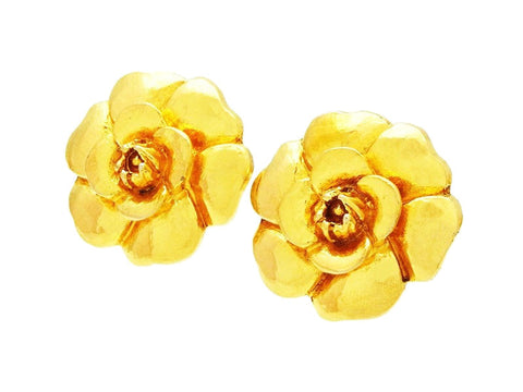 Authentic vintage Chanel earrings gold large camellia flower clip