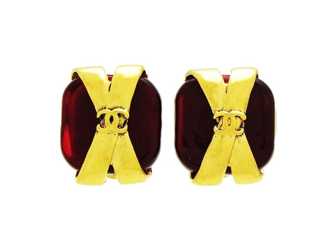 Vintage Chanel earrings red glass stone