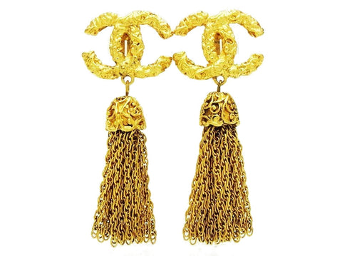 Vintage Chanel fringe earrings CC logo tassel