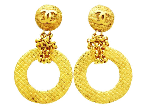 Vintage Chanel dangling earrings large hoop