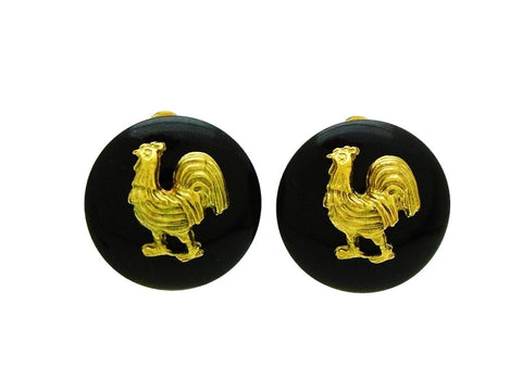Vintage Chanel black round earrings chicken