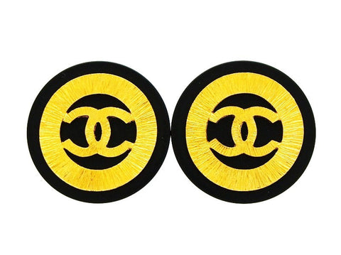 Vintage Chanel black earrings CC logo round