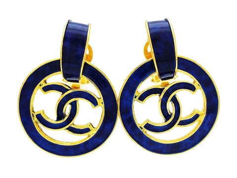 Vintage Chanel dangling earrings CC logo hoop navy blue