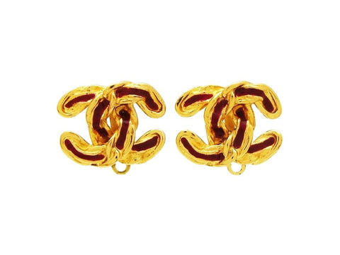 Vintage Chanel CC logo earrings red painted