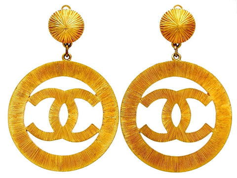 Vintage Chanel earrings CC logo hoop dangle Lady Gaga