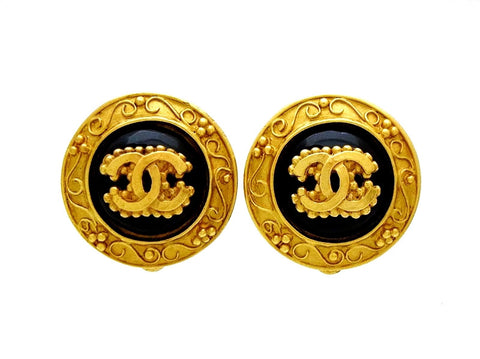 Vintage Chanel round earrings CC logo black glass stone