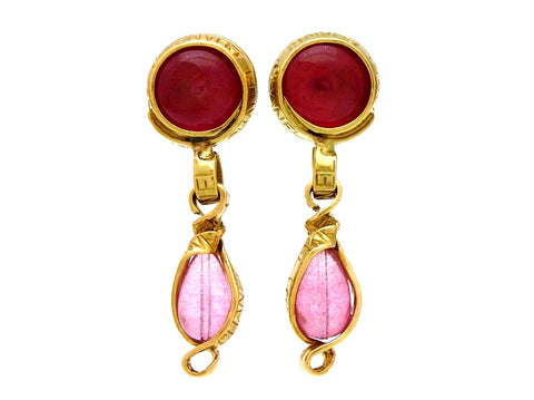 Vintage Chanel dangling earrings pink glass stone