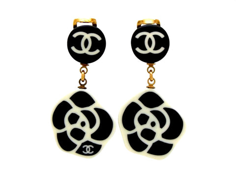 Vintage Chanel earrings CC logo camellia dangle black