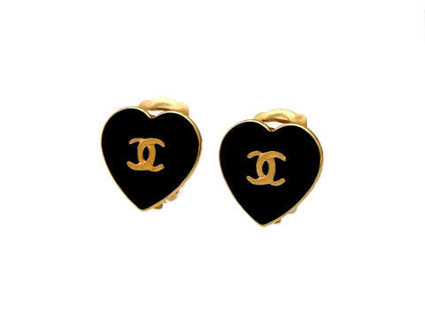 Vintage Chanel heart earrings CC logo black