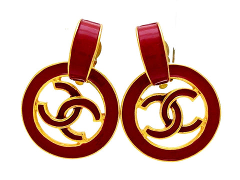 Vintage Chanel hoop earrings CC logo red