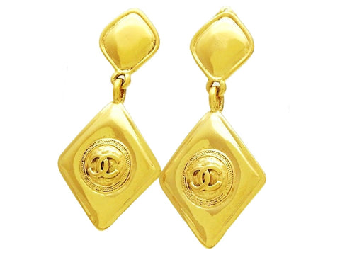 Vintage Chanel dangle earrings CC logo rhombus