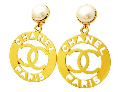 Vintage Chanel dangling earrings CC logo hoop pearl