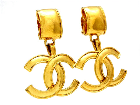 Vintage Chanel logo earrings CC dangle