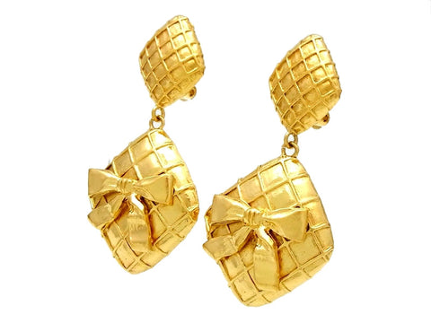 Vintage Chanel earrings ribbon rhombus dangle