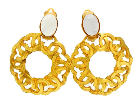 Vintage Chanel dangle earrings CC logo hoop white stone