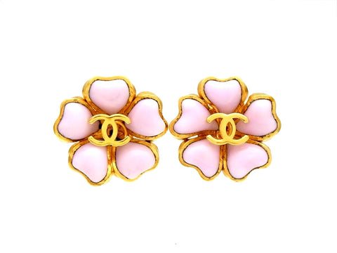 Vintage Chanel gripoix glass earrings pink flower