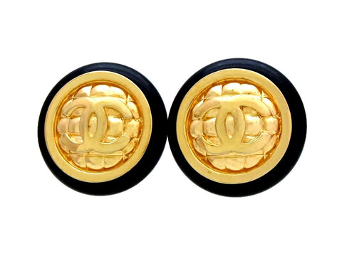 Vintage Chanel earrings CC logo quilted round black