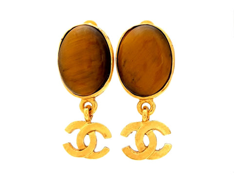 Vintage Chanel brown stone earrings CC logo dangle