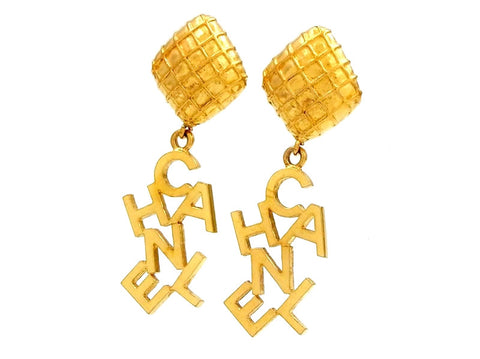 Chanel logo earrings dangle Authentic
