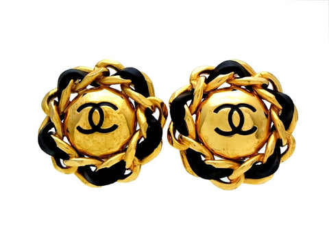 Vintage Chanel earrings black leather chain round
