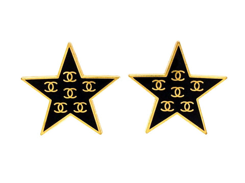 Vintage Chanel earrings CC logo black star
