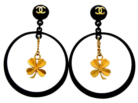 Vintage Chanel earrings black hoop clover dangle