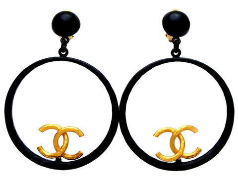 Vintage Chanel earrings Beyonce black hoop CC logo