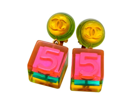 Vintage Chanel earrings No.5 cube dangle pink